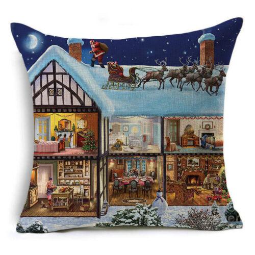 Noël Cartoon Impression Teinture Taie d/'oreiller canapé lit maison décoration Housse De Coussin