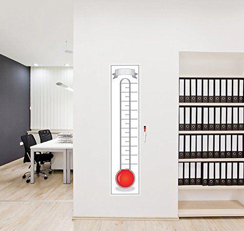 "48/"" x 11/"" Goal Setting Thermometer Chart Dry Erase Reusable Tracker Vinyl Poster"