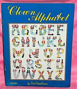 Just-CrossStitch-Circus-Clown-Alphabet-Cross-Stitch-Chart-Pattern-Leaflet-ABCs