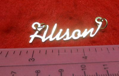 """14KT GOLD EP /""""LOIS/"""" PERSONALIZED NAMEPLATE WORD CHARM PENDANT 6239"""