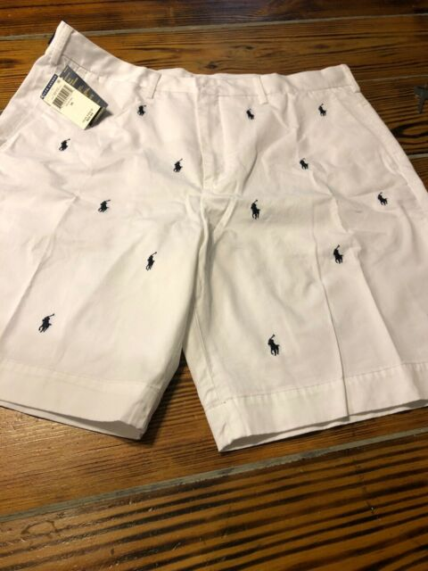 Polo Ralph Lauren Mens Stretch Classic Fit Flat Front Shorts Blue /& White 42