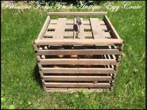Primitive-Antique-Wooden-Egg-Carrier-Crate-Box-Sliding-Top-Handle-Barn-Find
