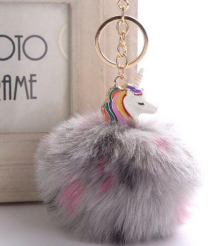 Unicorn Keyring Pompom for bag purse keys keychain charm handbag jewellery gift