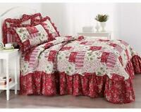 Red White Green Floral Patchwork Queen Size 1 Pc Quilt Bedding Attached Bedskirt