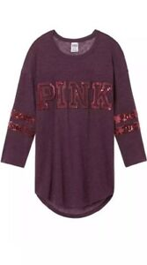 1ad7f0d7bc62 Victorias Secret PINK Burgundy Bling Sequin 3/4 Sleeve T Shirt ...
