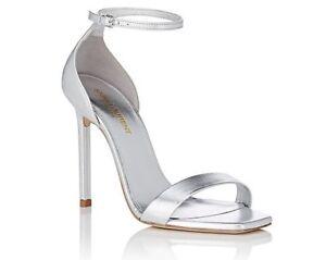 c7699bd4706 YSL Yves Saint Laurent AMBER 8.5 Sandals Shoes Size 39 Silver | eBay