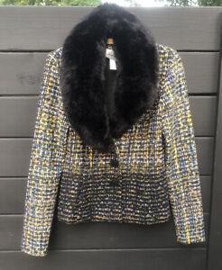 Joseph Ribkoff Jacket Size 8 Removeable Collar Faux Fur Long Sleeve Yellow/Black