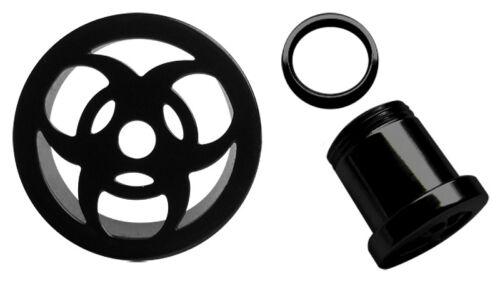 Ohr Piercing Schmuck Flesh Tunnel Plug schwarz Biohazard Motiv Stärke 6-20mm