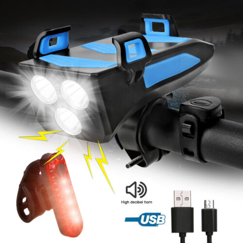 Bike Bicycle USB Rechargeable LED Head Front Light Rear Tail Lamp Phone Holder