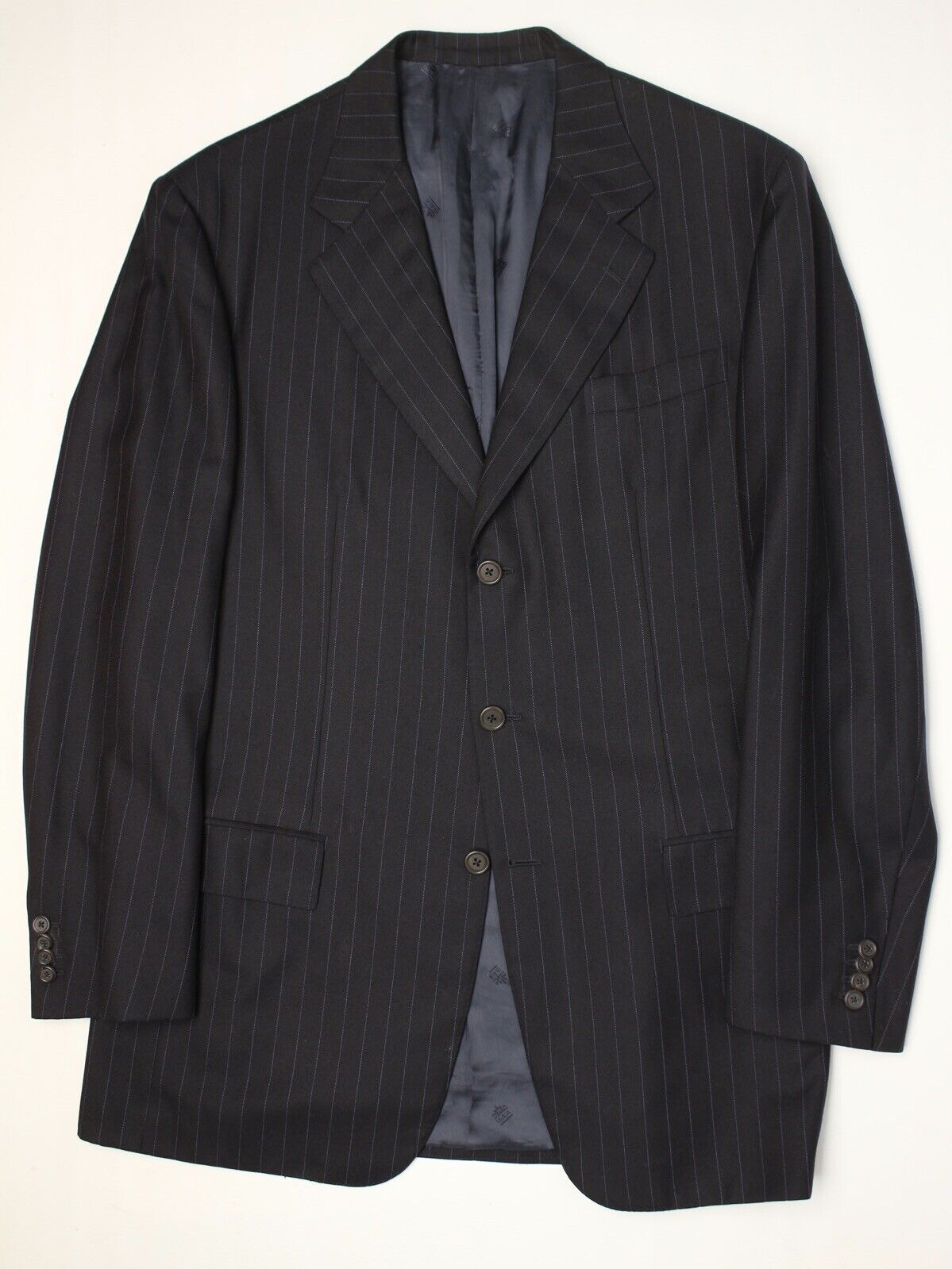 Enrico Isaia Mens Suit 44L 33x34 Navy Blau Pin Stripe Stripe Stripe 3 Bttn Coat Pleated Pants 5db