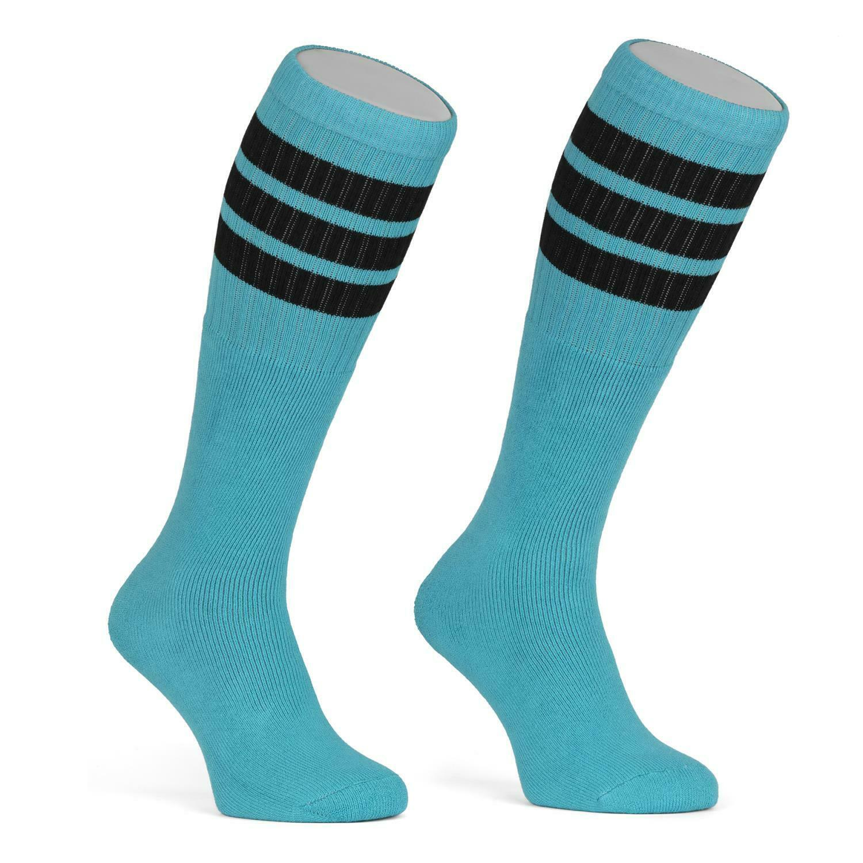 Skatersocks 22 Inch Kniehohe Damen Socken Herren Tube Socks aqua schwarz gestr.