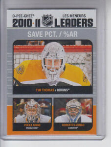 11 12 Opc Tim Thomas Pekka Rinne Roberto Luongo League Leaders Card