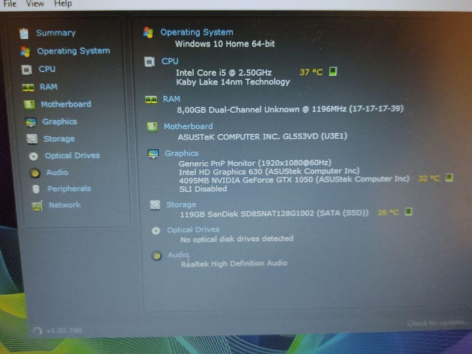 Asus ROG 1050 4GB, Intel Core i5-7300HQ GHz, 8 GB ram