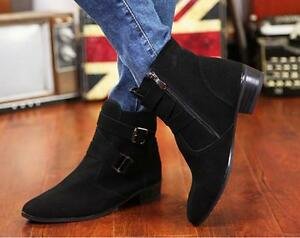 New-Fashion-Men-039-s-suede-Pointy-Toe-Ankle-Chelsea-Boots-zip-up-casual-shoes-H264