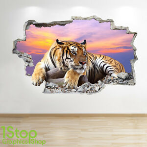 TIGER-SUNSET-WALL-STICKER-3D-LOOK-BEDROOM-LOUNGE-NATURE-ANIMAL-WALL-DECAL-Z14