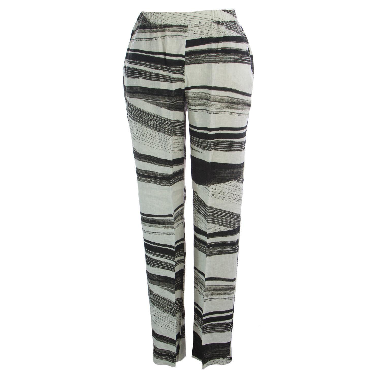 MARINA RINALDI Women's White Rocco Striped Unhemmed Pants  325 NWT