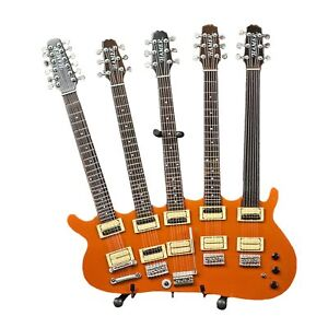 RICK-NIELSEN-Five-Neck-Orange-Monster-Mini-Guitar-Replica-Display-Collectible