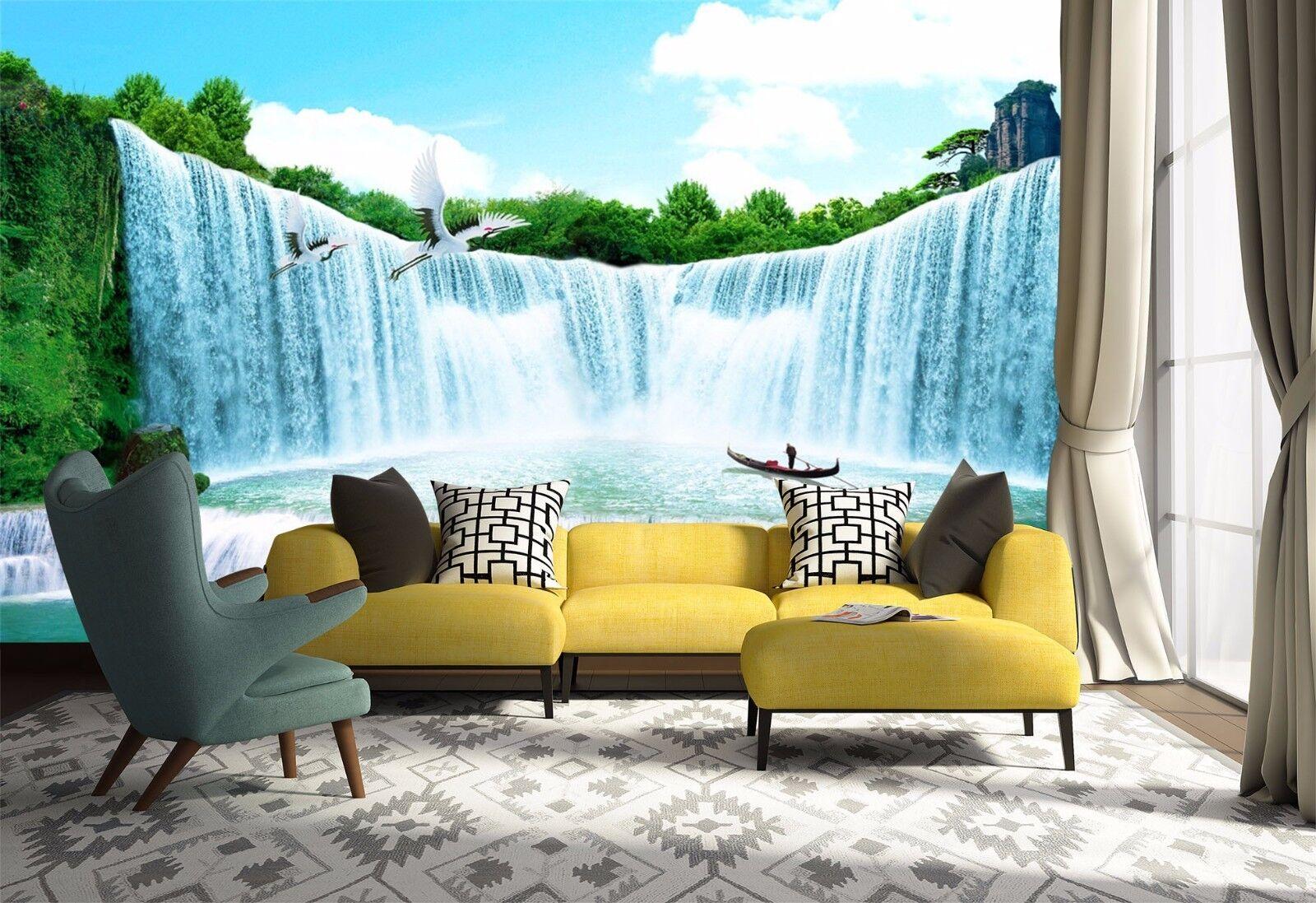 3D Waterfall Egrets 74 Wall Paper Murals Wall Print Wall Wallpaper Mural AU Kyra