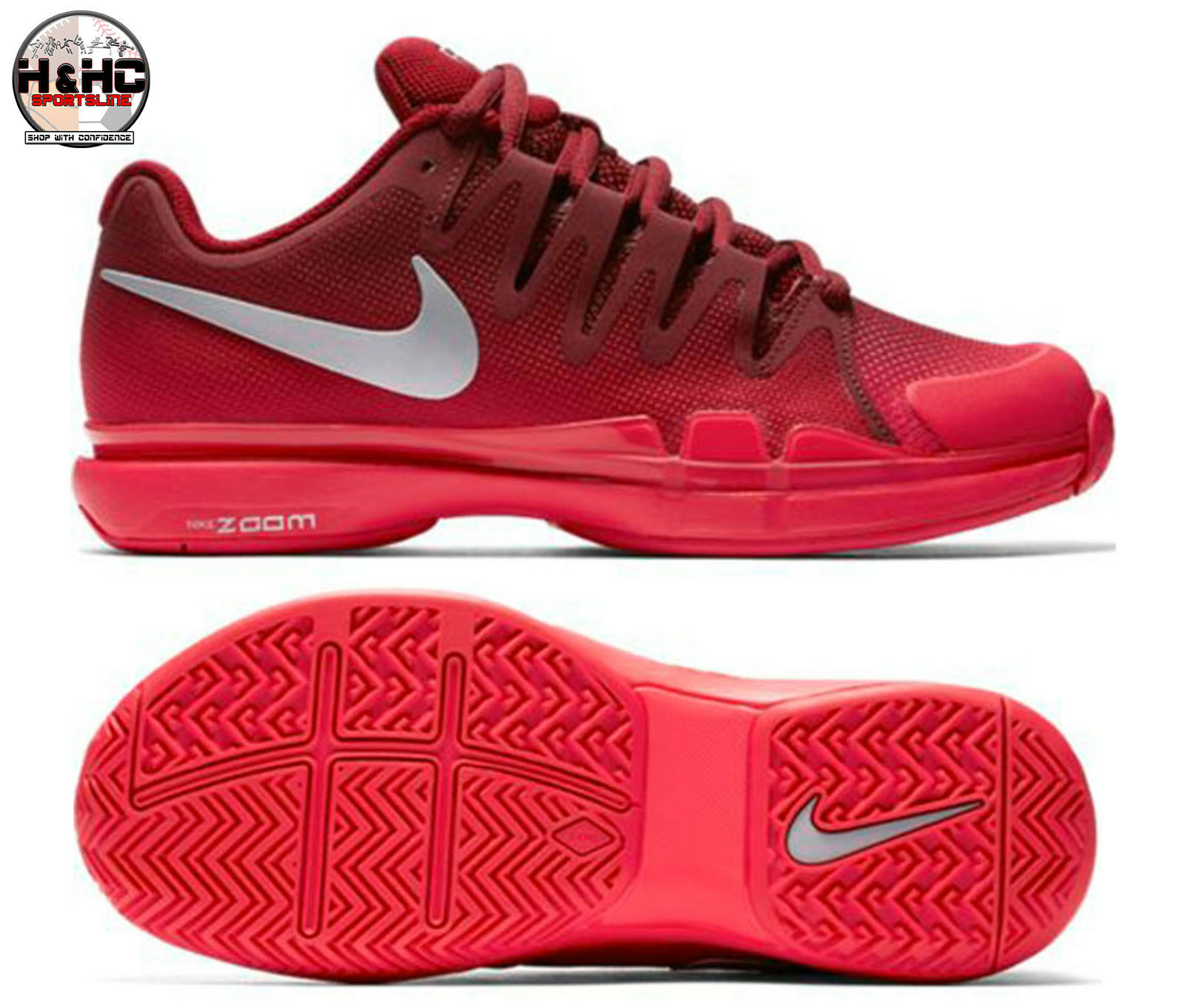 Nike Zoom Vapor 9.5 Tour 631475 602 Team Red/Silver Women's Tennis Shoes Sz 5