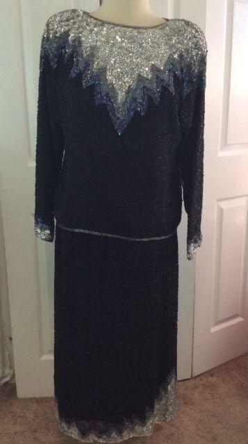 VTG 80s MAHARAJ By COTTON CANDY Beaded Sequin 2-piece Skirt Blouse Set Sz M