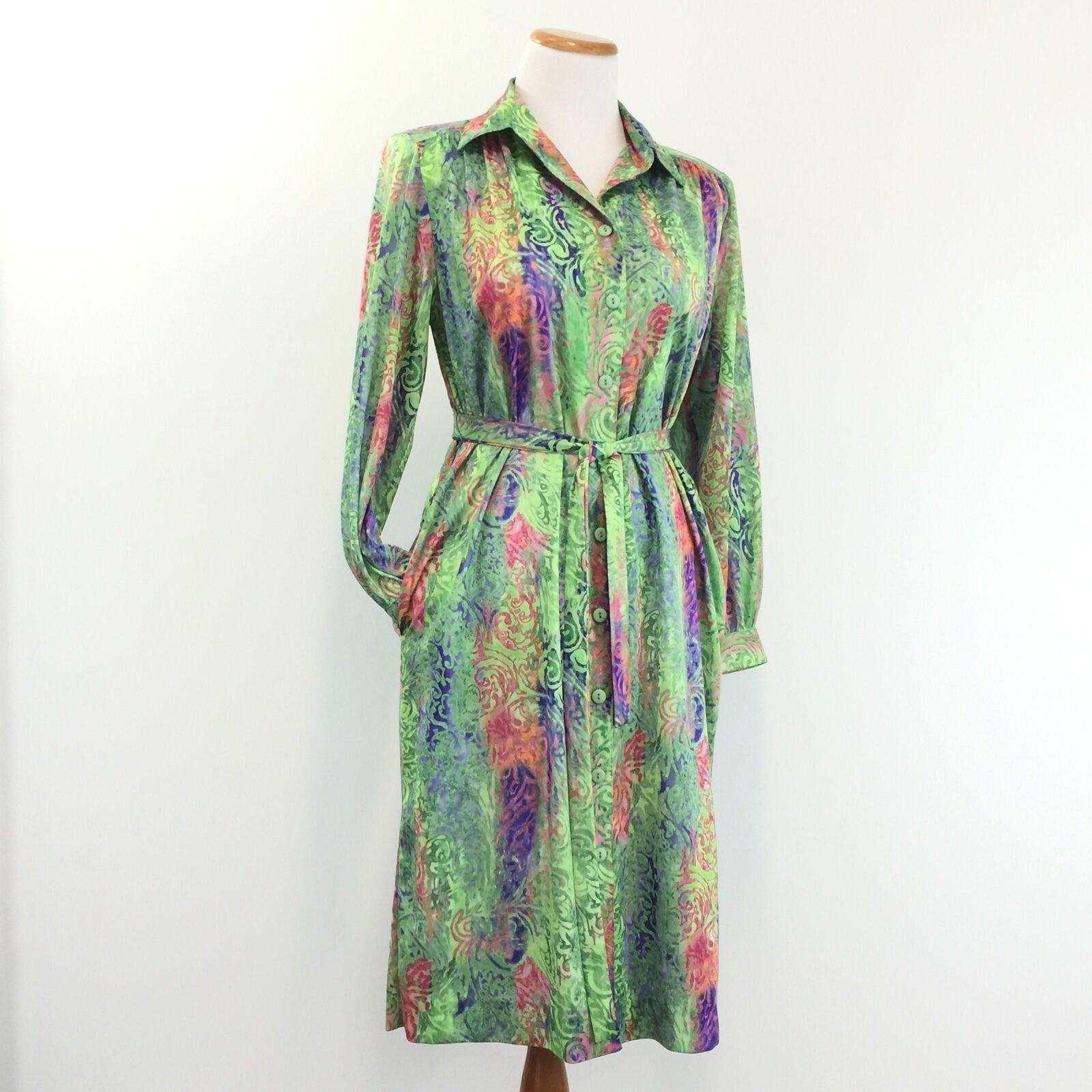 Vtg 70s 80s PETITES BY WILLI Shirt Dress Belted Button Front Made In USA Größe 10