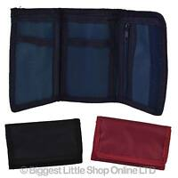 NEW Mens Boys Girls Plain Canvas Tri-Fold Wallet Black Red Navy Handy