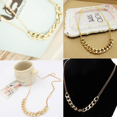 New Gold Plated Women Two Layers Chain Statement Collar Pendant Necklace UK Gift