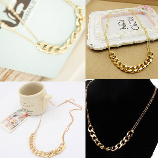 Hot Gold Plated Women Metal Double Layers Chain Circles Collar Pendant Necklace