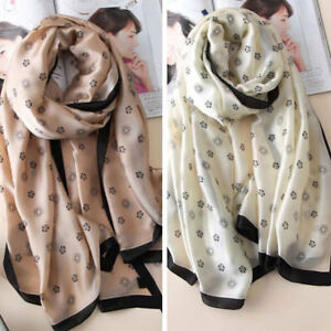 Women-Trendy-Flower-Floral-Print-Beach-Long-Silk-Wrap-Shawl-Cover-Up-Scarves-Hot