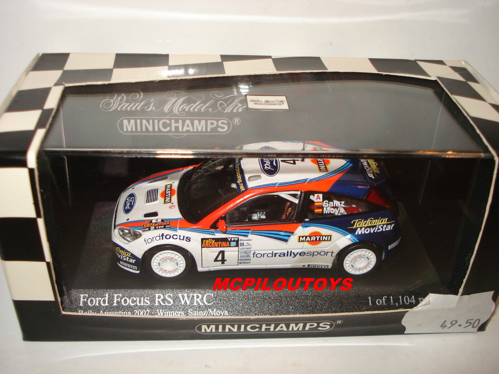 MINICHAMPS 430028904 FORD FOCUS RS WRC N°4 WINNERS RALLY ARGENTINA 2002 au 1 43°