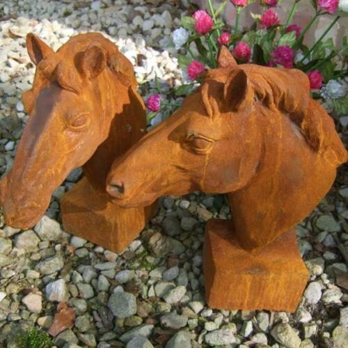 Pferdekopf Skulptur für Pfosten und Mauerpfeiler Eisen-Rost Gartendeko Pferd