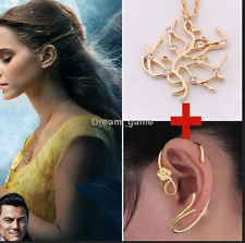 US SHIP!Beauty And The Beast Belle Rose Tree Pendant Necklace Earrings Cos Sets