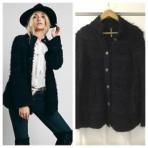 NEW Free People Swing Shaggy Sweater Coat Jacket Size XS Navy Blue ...