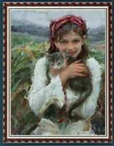 Hand-painted-Oil-painting-art-Original-Impressionism-girl-cat-on-Canvas-24-034-x36-034