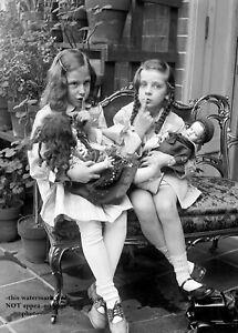 8x10 Vintage Girls Playing Dolls PHOTO Poster Cute Kids Creepy Scary Dolls,c1920