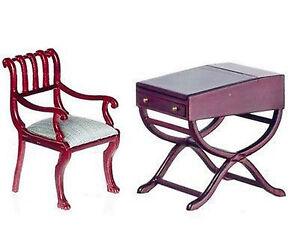 Dollhouse miniatures Bespaq Mahogany Flip Top Desk and Chair