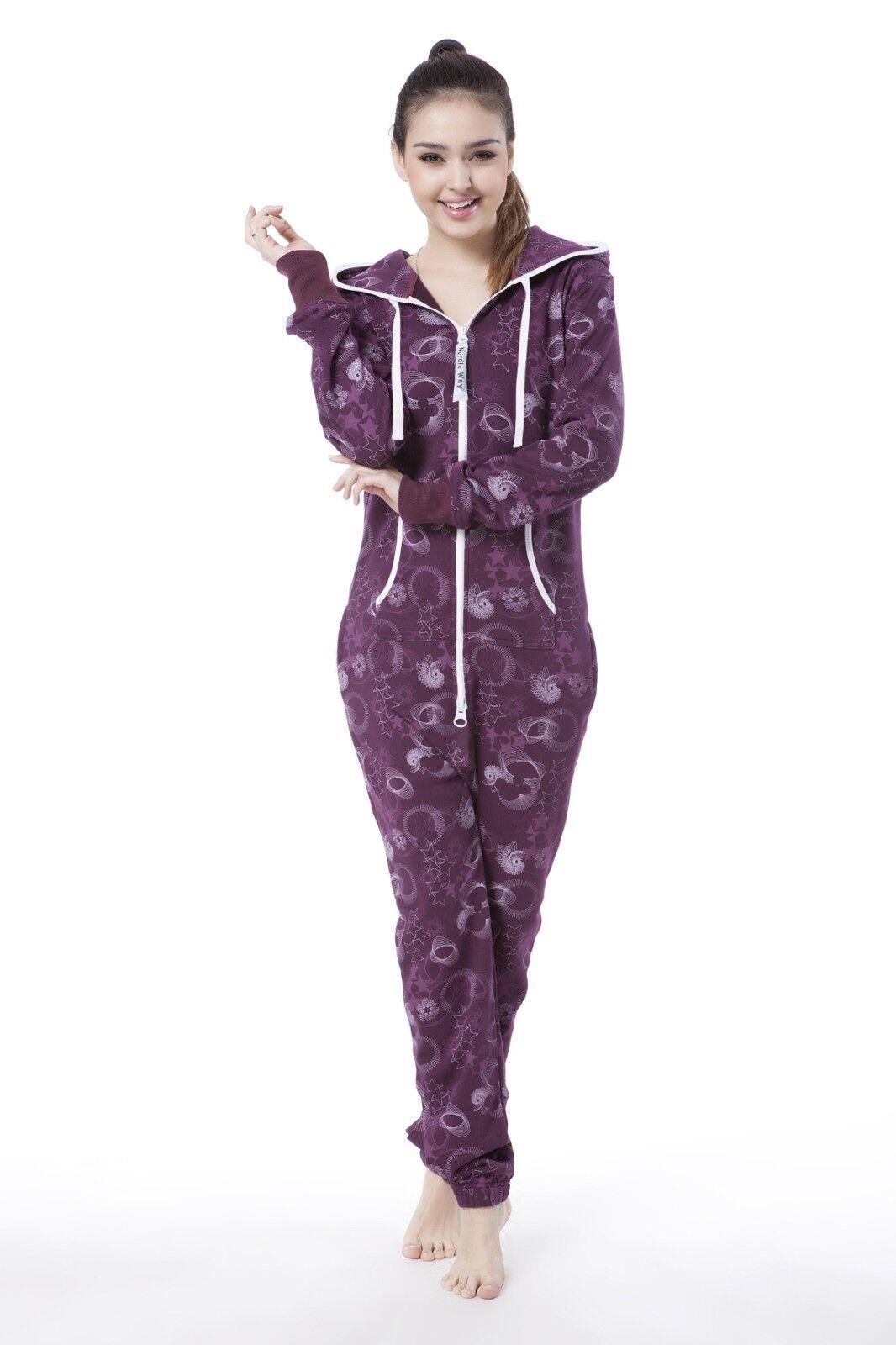 Nordic Way Fashion One Piece Jumpsuit Print Adult Women Romper Hoodie Fleece