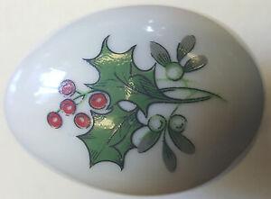 Signed Porcelain Hand Painted Egg Shaped Trinket Box ... New Authentic Limoges