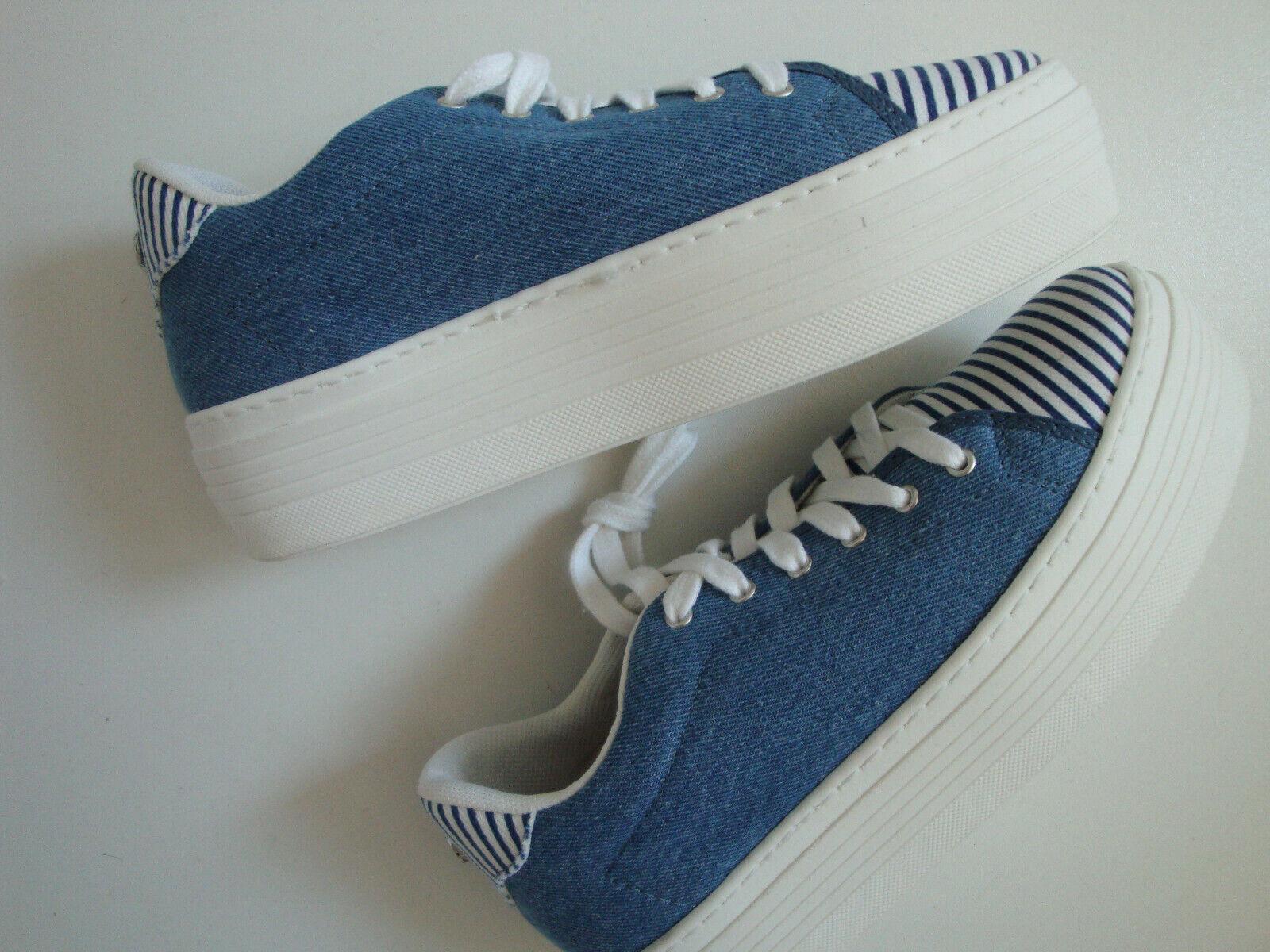 GUESS  Schuhe  Turnschuhe  SUMY  Blau  Jeans  Optik  Plateau  Bauwolle  Gr. 37  Neu