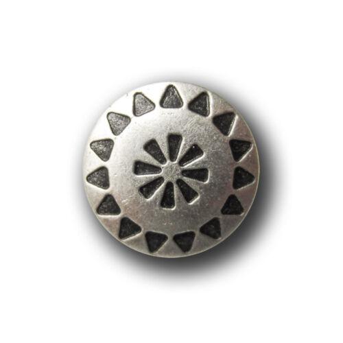 Ösen Metall Knöpfe m 1089as 5 kleine altsilberfb Ethno Muster in Antik-Optik