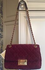 MICHAEL KORS $328 Sloan Large Chain Shoulder Bag Quilted Suede Leather Plum NWT