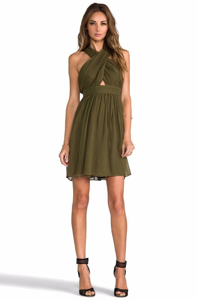 New AUTH Alice Olivia Caldwell Wrap Bodice Tulip Dress in Army