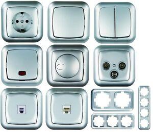 ambient silber wechselschalter steckdose dimmer. Black Bedroom Furniture Sets. Home Design Ideas
