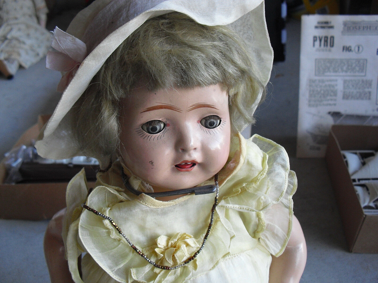 Vintage 1930s Composition Cloth Girl Character Doll 16  Tall