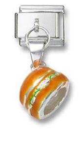 Italian-Charm-Dangle-Hamburger-Sterling-Enamel-9mm-Stainless-Steel-Bracelet-Link