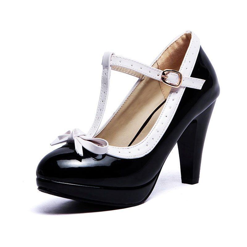 Women High Heels shoes Lady T-Strap Bowknot Bowknot Bowknot Pumps platform Daily Work Dress Heel e4266c