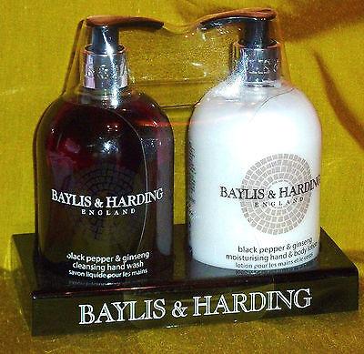 Baylis & Harding Set Flüssigseife & Handlotion Black Pepper & Ginseng je 500ml