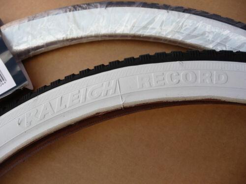 Pair of Raleigh Record 20x1 3//8 WHITE WALL Tyres /& innertubes 37-451 Bike