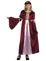 Girls Burgundy Medieval Renaissance Tudor Princess Fairytale Fancy Dress Costume