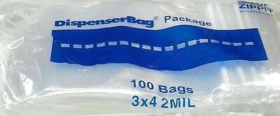 "100 3""x4"" ZIP LOCK Bags Clear 2MIL Poly LDP RECLOSABLE ZIPPIT 100 Small Baggies"